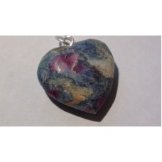 Crystal Ruby Zoisite Heart Pendant with necklace & Bag.