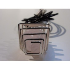 Rose Quartz Square Cage Pendant With Black Cord